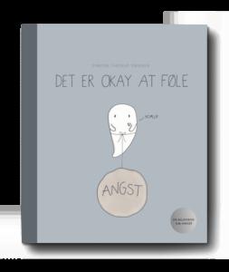 """Forside til bogen """"Det er okay at føle - en billedbog om angst"""" - illustreret gennem et hvidt spøgelse med en stor, tung ballon fyldt med angst bundet om livet, og som råber på »hjælp«. Illustreret og forfattet af Simone Thorup Eriksen."""