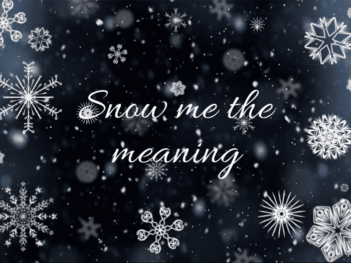 Snow me the meaning